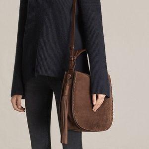 All Saints Brown Nubuck Leather Hobo Bag Crossbody